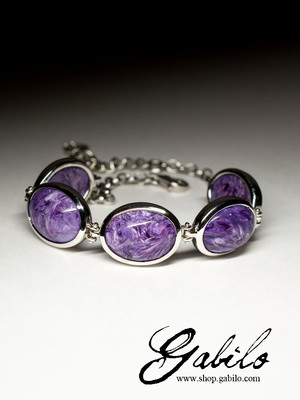 Silver bracelet with charoite