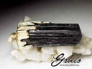 Made to order: Schorl black tourmaline gold pendant