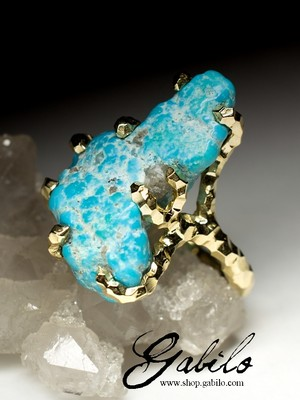 Turquoise Gold Ring with Gem Report MSU