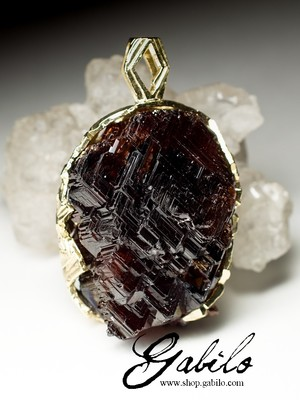 Big Spessartine Garnet Gold Pendant
