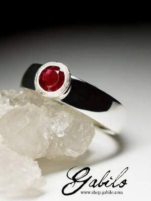 Silver ring with spinel