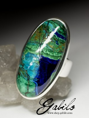 Men's azurmalachite Silver Ring