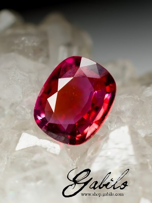 Red sapphire 4x5 kushon cut 0.43 carats with gem report MSU