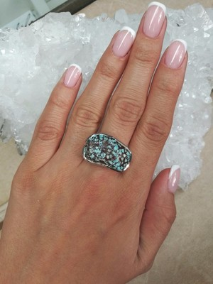 Big Turquoise Silver Ring