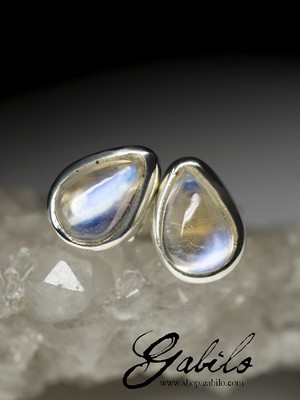 Moonstone silver stud earrings with gem report MSU
