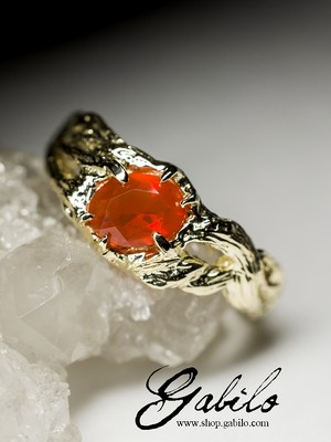 Made to order: Fire Opal Gold Ring with jewellery report MSU