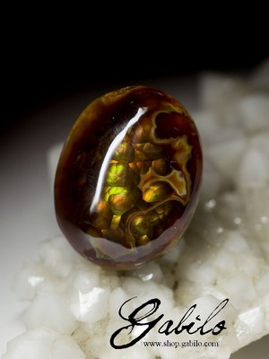Mexican fire agate set 38 carat