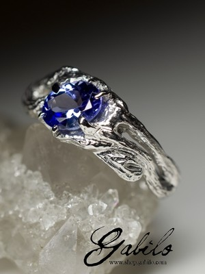 Tanzanite silver ring with gem report MSU