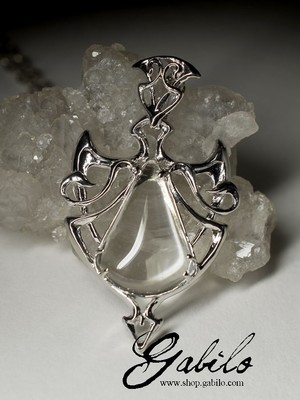 Silver pendant with rhinestone