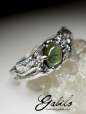 Silver ring with tourmaline