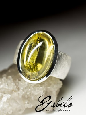Silver ring with heliodor