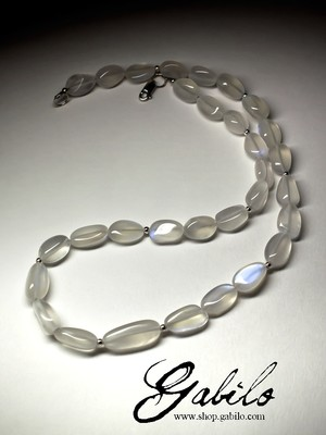 Moonstone beaded necklace with gold