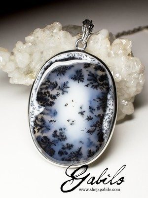 Moss Agate Silver Necklace