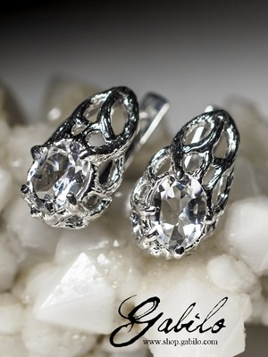Rock crystal silver earrings with gem report MSU