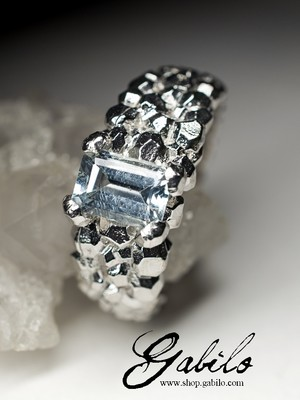 Aquamarine silver ring with gem report MSU