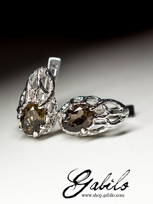 Silver earrings with smoky quartz with Gem Report MSU