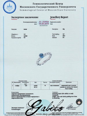 Sapphire Silver Ring with Jewellery Report MSU