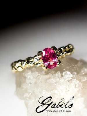Pink spinel gold ring with Jewelry Report MSU