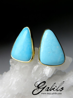 Made to order: Turquoise gold stud earrings with Jewelry Report MSU