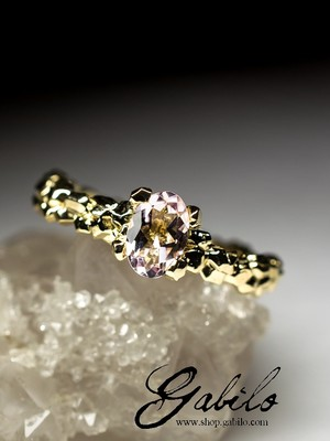 Morganite gold ring