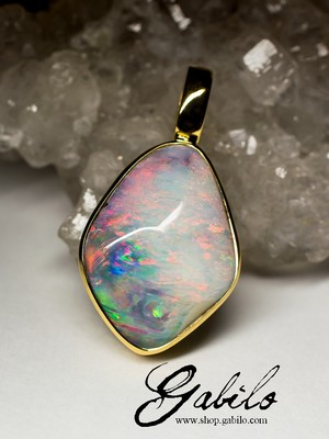 Made to order: Boulder opal gold pendant