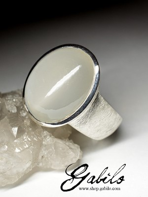 Large moonstone silver ring