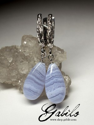 Blue Lace Agate Silver Earrings