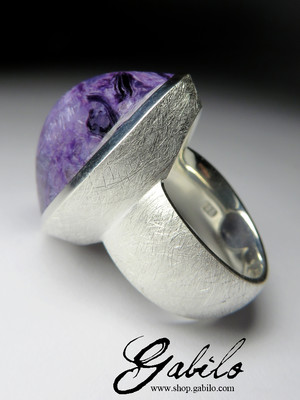 Silver Ring with Charoite