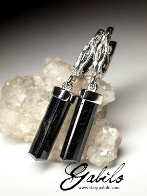 Schorl Black Tourmaline Silver Earrings