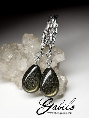 Silver Earrings with Obsidian