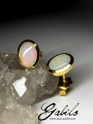 Silver earrings pouches with noble opal