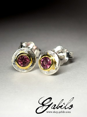 Silver earrings pouches with rubellite