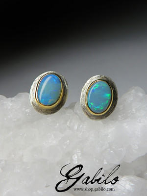 Silver earrings pouches with opal