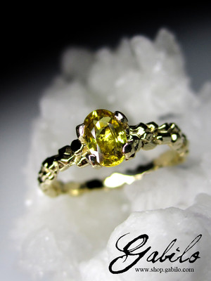 Yellow sapphire gold ring with Jewelry Report MSU