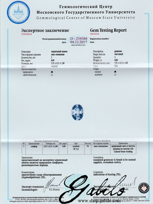 Blue sapphire Sri Lanka 0.60 ct with gem testing report MSU