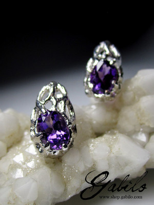 Amethyst Silver Earrings with gem report MSU