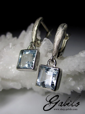 Aquamarine Silver Earrings with gem report MSU