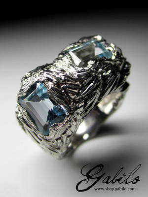 Topaz silver ring with MSU Gem Report