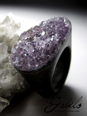 Big Amethyst Purple Quartz Solid Stone Ring