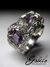 Big Amethyst Silver Ring with gem report MSU