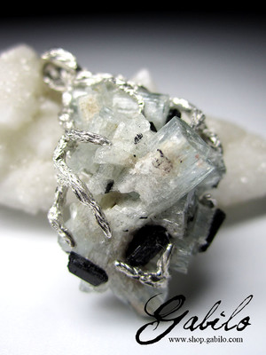 Aquamarine and black tourmaline crystals silver pendant