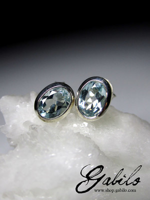 Aquamarine Silver Stud Earrings with jewellery report MSU