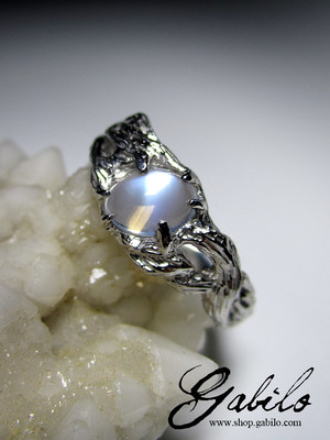 Moonstone silver ring with gem report MSU