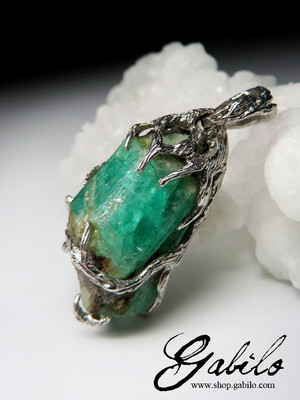 Emerald silver pendant with Gem report MSU