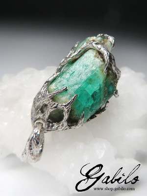 Made to order: Emerald silver pendant with Gem report MSU