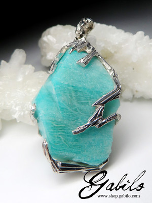 Amazonite Crystal Silver Necklace