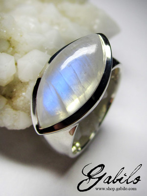 Big moonstone silver ring
