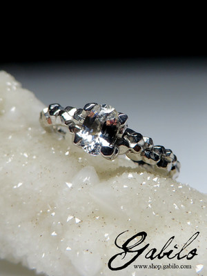 White Sapphire Silver Ring with Gem Report MSU