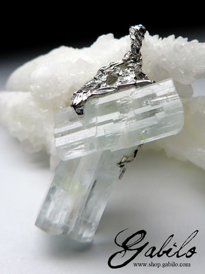Aquamarine Raw Crystal Cluster Necklace
