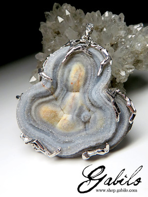 Big Agate Rose Silver Necklace